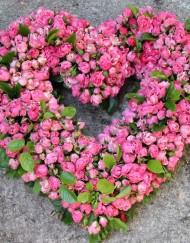 Coeur roses rose deuil - Copie