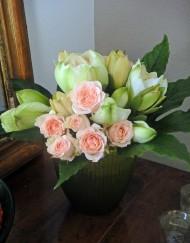Bouquet rose et amarylis