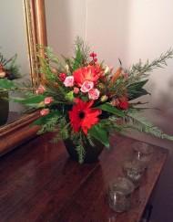 Bouquet rose boutons, gerberats et verdure